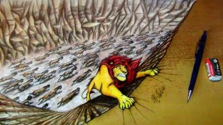 Walt Disney | The Lion King | Король Лев | Speed Painting - Mufasa (Drawing 3D optical illusion)(Look here! My channels: http://jr-julia.deviantart.com/ http://www.turtlepower.ru/member.php?... https://www.facebook.com/julia.jayray ..., 2016-04-04T19:55:45.000Z)