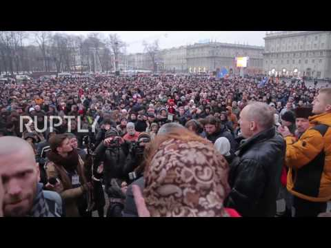 Belarus: Tempers flare at 'The March of Angry Belarusians' rally
