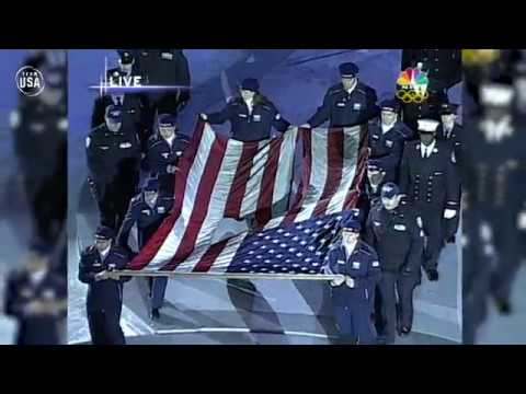 9/11 Remembrance With World Trade Center Flag At Salt Lake City 2002 Opening Ceremony
