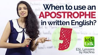 When to use an APOSTROPHE in written English? – English Grammar Lessons | IELTS Writing Practice