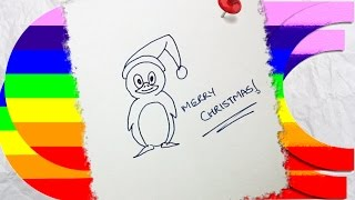 how to draw a cartoon christmas penguin Thumbnail