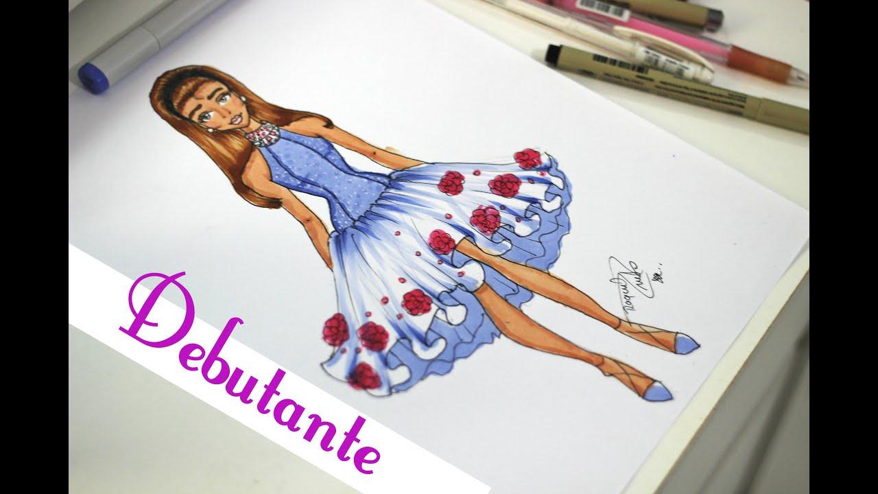 Desenho de Moda - Vestido 15 Anos (debutante) - YouTube