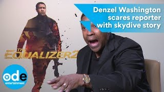 EQUALIZER 2: Denzel Washington scares reporter with skydive story