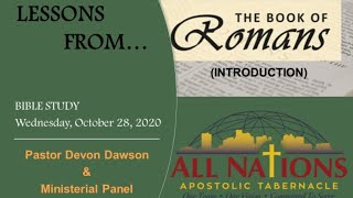 BIBLE STUDY: Lessons fŗom the Book of Romans. Wed. Oct. 28, 2020
