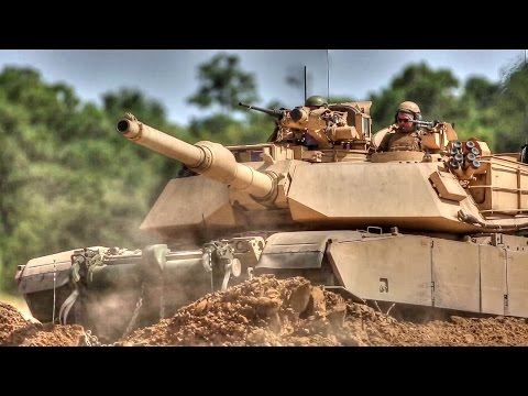 Marines M1A1 Tanks Blast Through Training Course