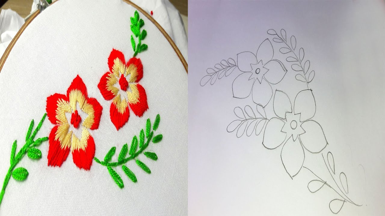 How To Make Flower Design Drawing For Hand Embroidery Youtube