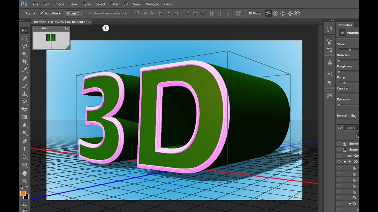 How to design 3d text in adobe photoshop cc tutorials youtube baditri Gallery