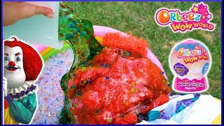 The Hello Neighbor Clown Gets Slimed!  Orbeez Wow World Wowzers Surprise Toys! (skit)
