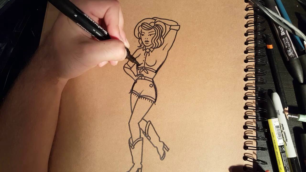 25a86aa6b4da5 How to Draw an Old School Pin-up by thebrokenpuppet - YouTube
