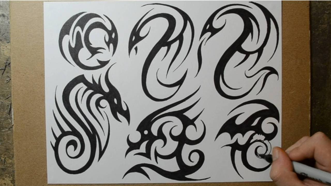 tribal dragon tattoo designs sketching ideas youtube - Drawing Design Ideas