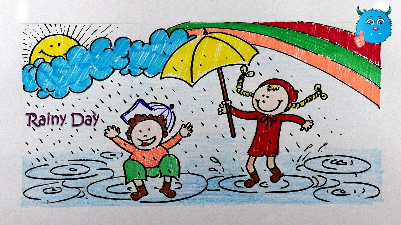 How to draw rainy day easy rainy season drawing for kids