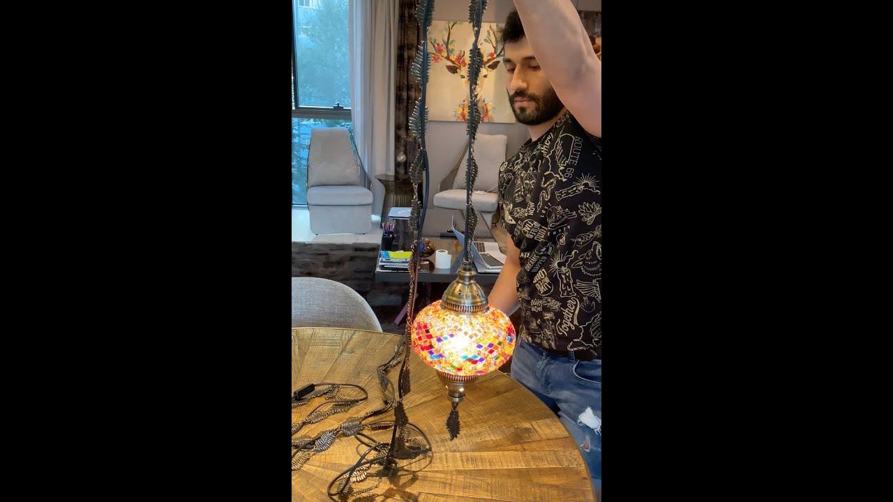 Assembling Demmex Turkish Mosaic Plug In Hanging Ceiling Lamp Pendant Light Fixture Youtube