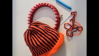 Halloween Hat with vertical stripes on KnitUK Knitting Loom. Children's Size