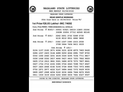 Nagaland Lottery Dear Gentle Morning Result 04-08-2018