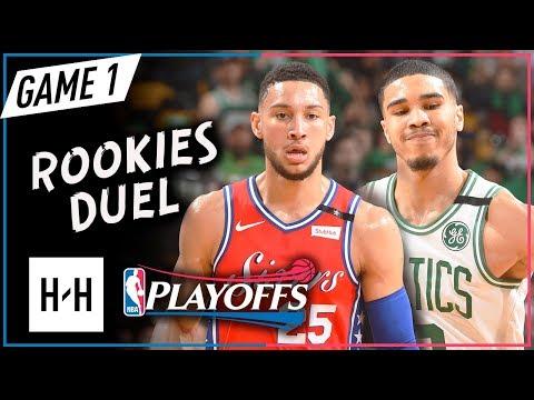 Jayson Tatum vs Ben Simmons Rookies Game 1 Duel Highlights 2018 Playoffs - 28 Pts for Tatum