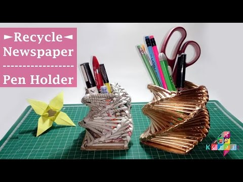 Use Waste Newspaper to make Beautiful Pen Holder