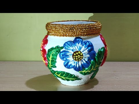 Kalash decoration for Pooja/Matka decoration idea/painting/3D painting/