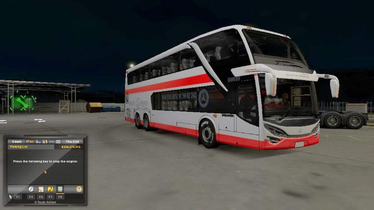 ETS2 1 30 italia DLC Jetbus 2 Double Decker White Horse Genova - Milano