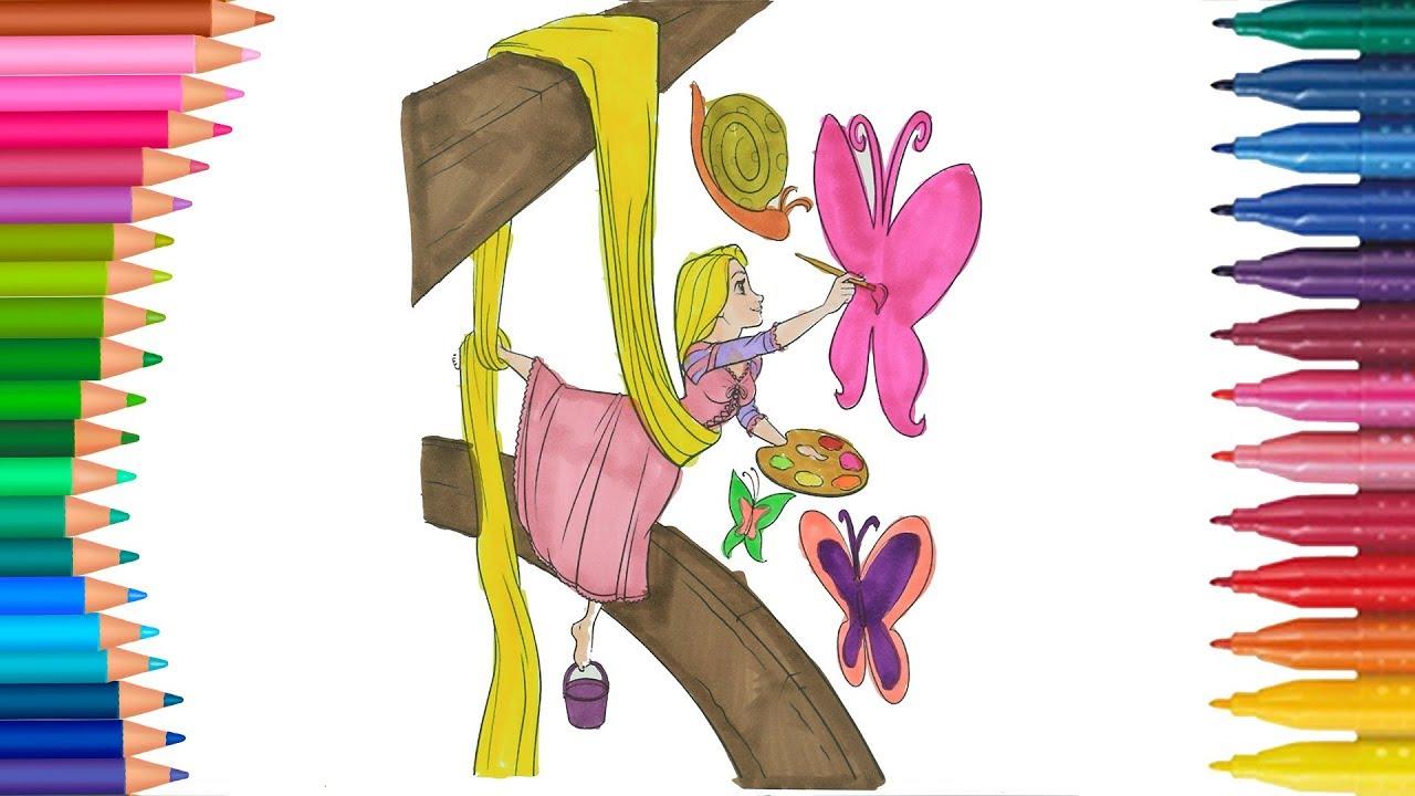 Pensativa Rapunzel Paginas Para Colorear Disney Dibujos Y