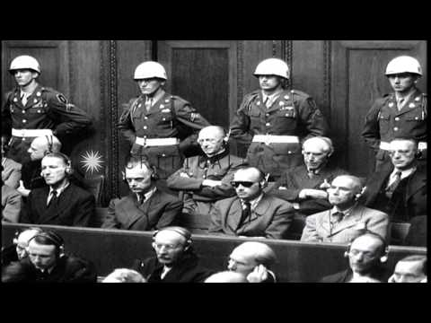 Justice Sir Geoffrey Lawrence reviewing events of World War 1 during Nuremberg tr...HD Stock Footage