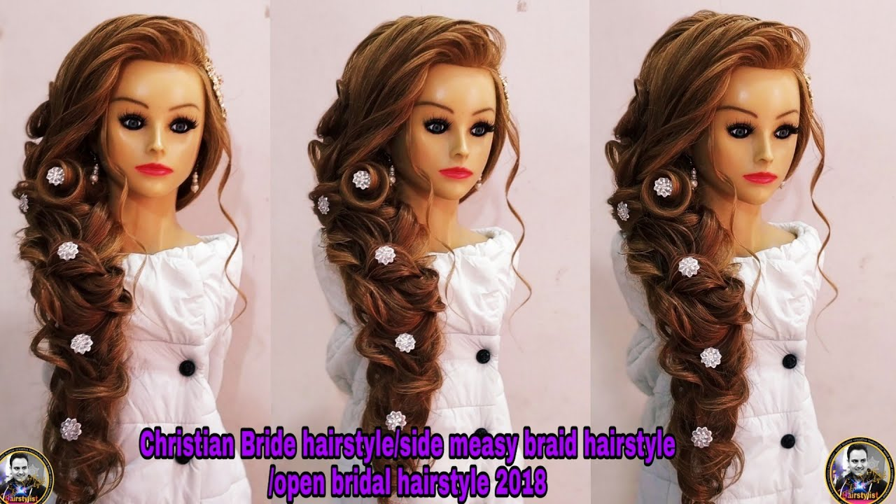 christian bridal hairstyle 2018/ side messy braids hairstyle / indain open bridal hairstyle/