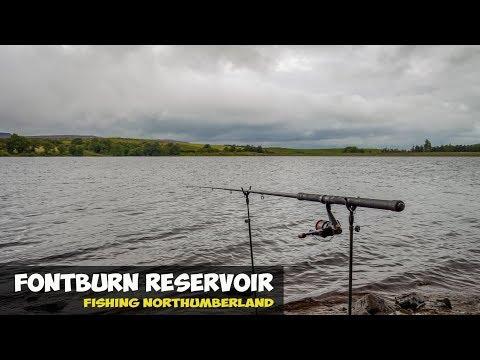 Fishing Fontburn Reservoir In Northumberland.