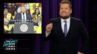 James Corden bespot Donald Trump's bizarre uitspraken over geld