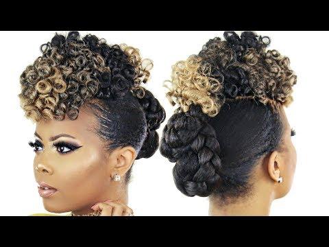 😍 BRAIDLESS CROCHET | NO CORNROWNS | START TO FINISH CURLY FROHAWK NATURAL HAIR UPDO | TASTEPINK
