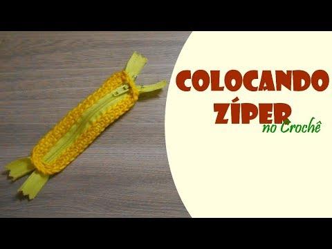 Como colocar zíper no crochê com acabamento diferente por Carine Strieder