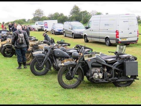 Wehrmacht In England - Line Up Of Zundapp KS750, KS600, BMW R75 And Harley WLA
