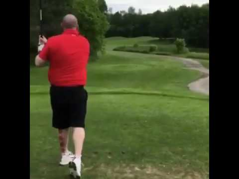 Crazy man losing his head at Golf