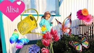 ВЛОГ Алиса поливает огород Хорошо в деревне летом