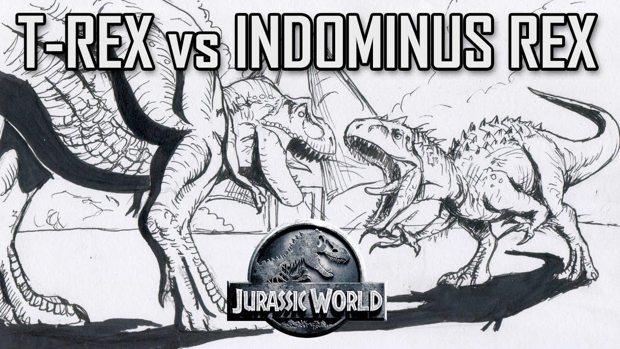 Jurassic World Tyrannosaurus Vs Indominus Rex Fight Quick Drawing