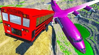 BeamNG drive - Can We Push An Airplane From The Cliff With Cars 2 ?