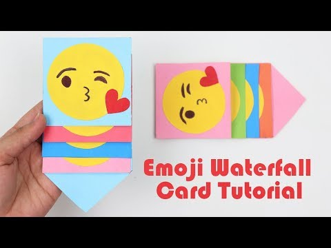 How to Make Mini Emoji Waterfall Card Tutorial | Emoji Slider Waterfall Card for Scrapbook Easy DIY