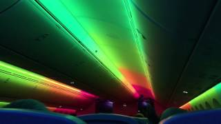 Dreamliner Cabin light show prior to takeoff