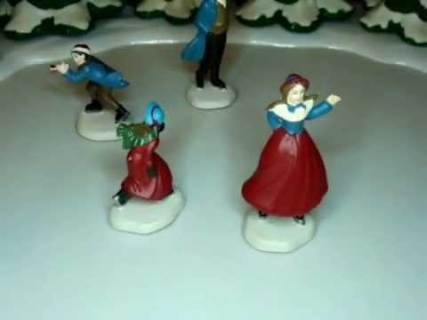 Animated Musical Lighted HOLIDAY SKATERS Fantasy Christmas Victorian Pond Scene