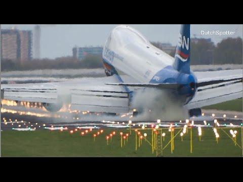 EXTREME LANDING!! silkway Boeing 747 terrifying HARD Landing at Amsterdam airport schiphol (HD)