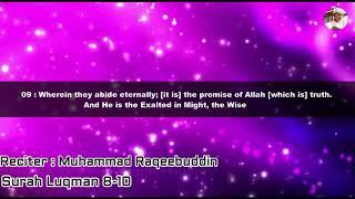 Really Best Quran Recitation | Muhammad Raqeebuddin Surah Luqman [English sub] Best Qirat Reciation