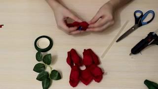 Мастер-класс. Классическая роза из гофрированной бумаги с конфетой внутри.