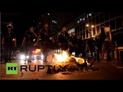"Brazil: Anti-government protesters chant ""There will be no World Cup!"""