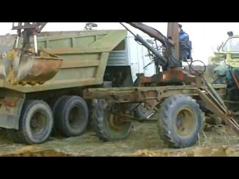 Переделанная грейферная установка Т-16  под полуприцеп