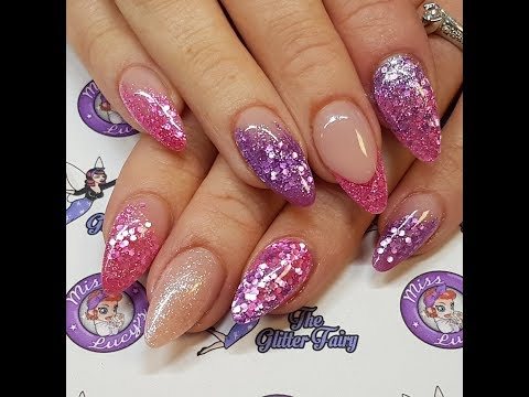 Super Satins - Acrylic Nails, Redesign, Glitters Pink & Purple