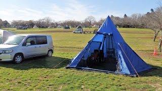 クリスマスイブに森のまきばオートキャンプ場でソロキャンプ 周りはファ...