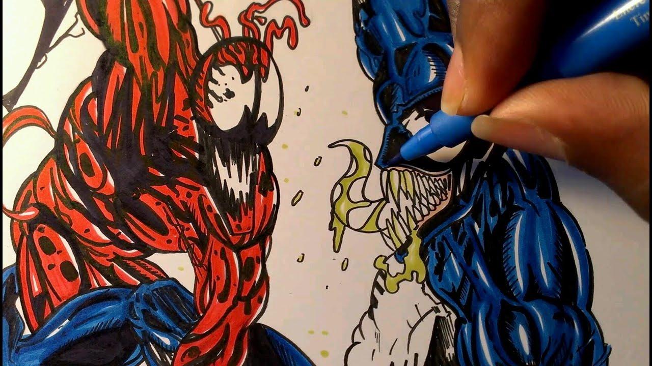 Drawing Venom vs carnage, Marvel comics