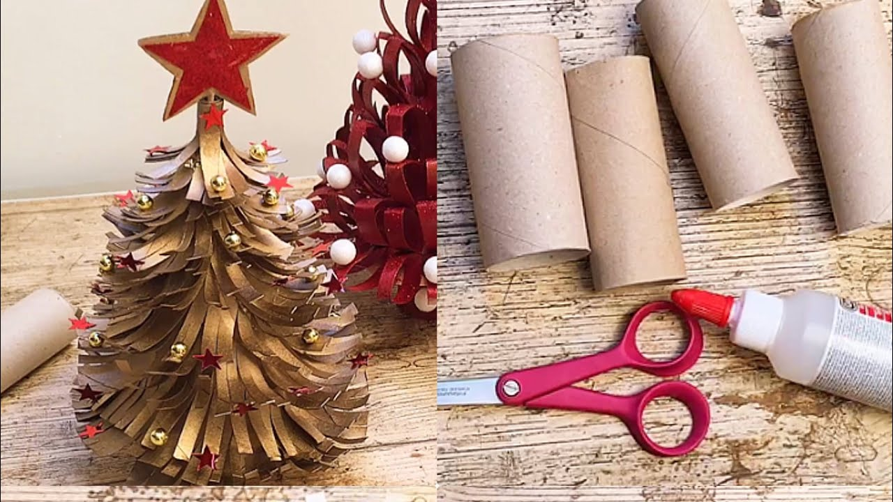 Tutorial Facilissimo How To Make Christmas Trees With Toilet Paper Roll Youtube How To Make Christmas Tree Paper Roll Crafts Christmas Toilet Paper
