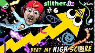 SLITHER.io #6: BEAT MY HIGHSCORE!  Low Quality is Awesome! (FGTEEV Duddy Worm Snake Gameplay)