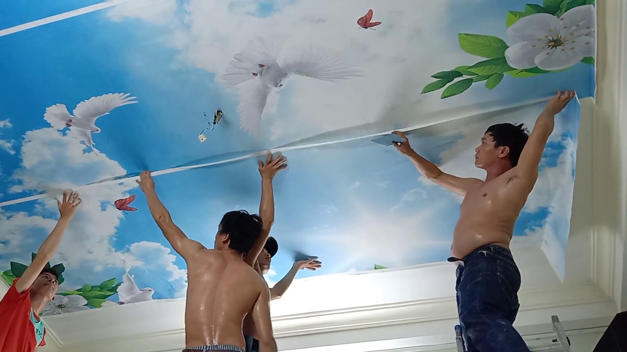 Thi công tranh dán trần nhà 3d bầu trời – Video hướng dẫn