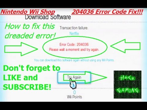 How To Fix Nintendo Wii Shop Channel Error 204036 Youtube