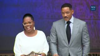 Oprah Winfrey And Will Smith At African American Museum Opening